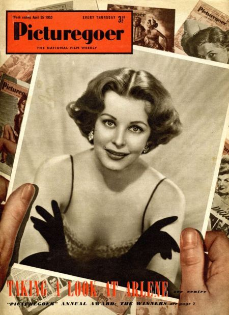 Picturegoer magazine cover design with 3D effect from 23 April 1953. Arlene Dahl is the film star model