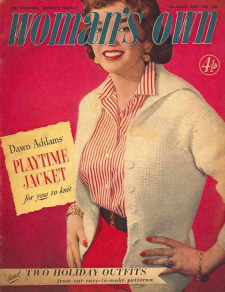 Woman's Own title covers the model's face on this cover from 19 May 1955