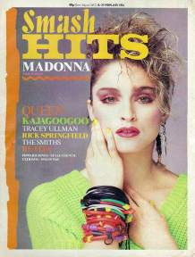 A different look for the cover of Smash Hits, also in February 1984