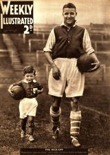 Eddie Hapgood, the England and Arsenal captain, on the cover of Weekly Illustrated in 1934 with his son, Tony