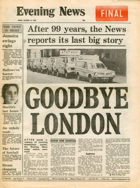 The last edition of London's Evening News on 31 October 1980