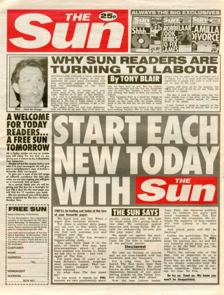 Promotional copy of the Sun inside the final issue of Today - with a message from Tony Blair