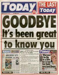 Last issue of Rupert Murdoch's Today newspaper (17 November 1995)