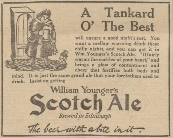 William Younger advertising for its Scotch Ale in 1923 from the Nottingham Evening Post