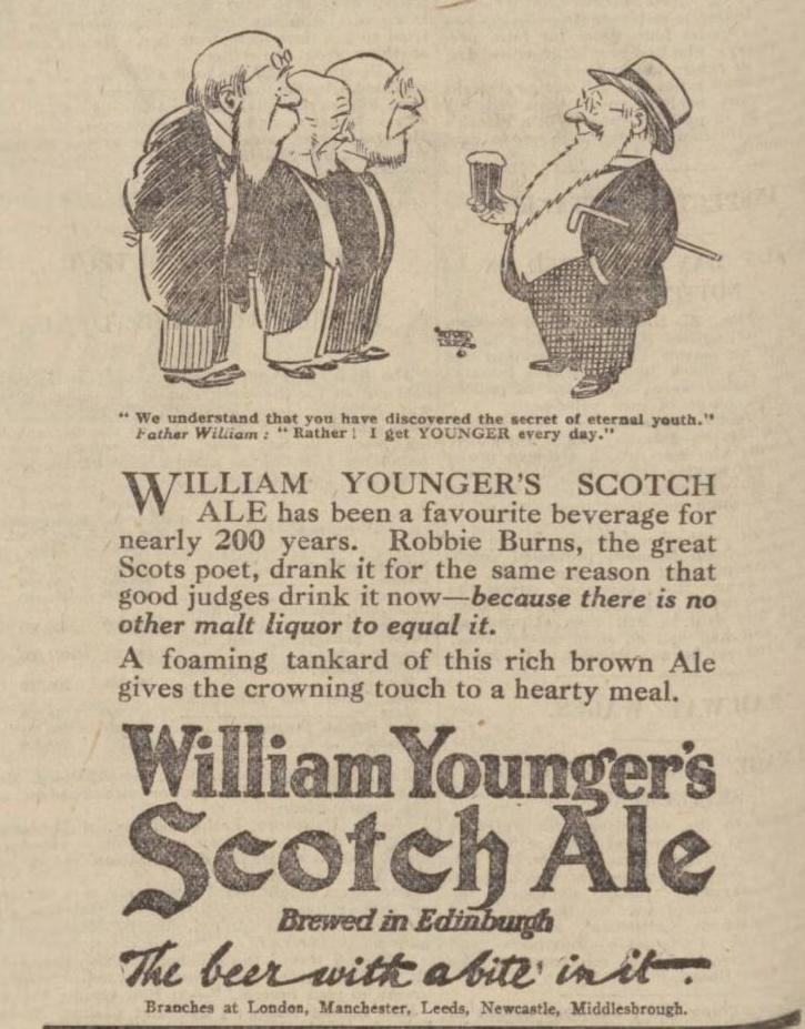 Nottingham Evening Post cutting shows Alfred Leete's Father William character for William Younger Scotch Ale in December 1924
