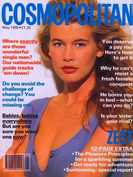 Claudia Schiffer, German supermodel, on the cover of the UK edition of Cosmopolitan for May 1990