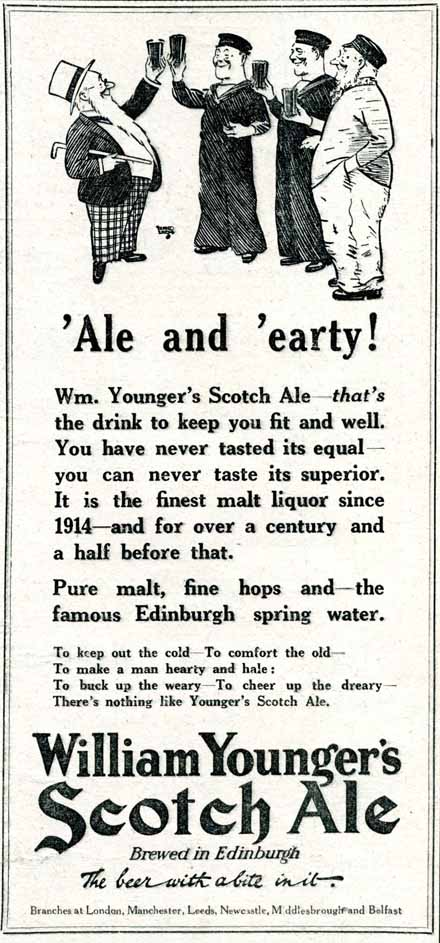 Alfred Leete's Father William character in London Opinion advertising (1927) for Younger's Scotch Ale