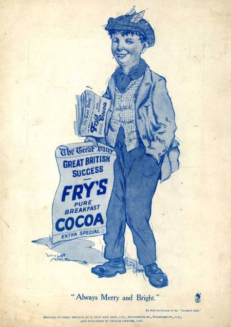 Magazine's back page advert for Fry's Cocoa by Ernest Noble
