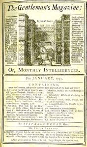 The first magazine: the Gentleman's Magazine from Sylvanus Urban (Edward Cave) in1731