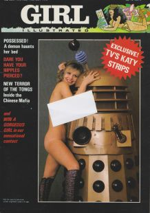 Girl Illustrated front cover with Dr Who girl Katy Manning naked with a Dalek