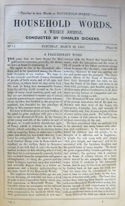 The opening page of Dickens' Household Words magazine from 1859