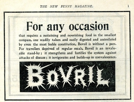 Bovril's spikey type on ad advert from the New Penny Magazine in 1900