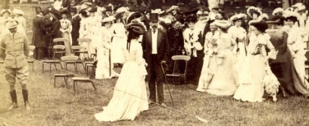 Surrounded by women: detail from a 1902 photograph of Kitchener at a garden party