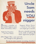 Black activists in the US portray Uncle Sam as trying to wipe out their race (1968)