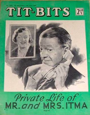 Tommy Handley, a famous face in 1955, on the cover of weekly magazine Tit-Bits