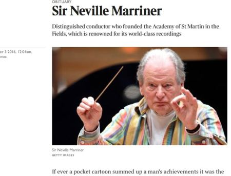 Neville Marriner obituary  on The Times website in October 2016