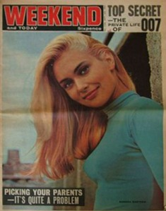 Weekend magazine in 1964, soon after it had taken over Today. Alexandra Bastedo, star of The Champions TV series, is on the cover