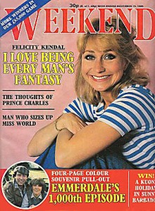 Weekend magazine in 1985 (nov19) with Felicity Kendall on the cover