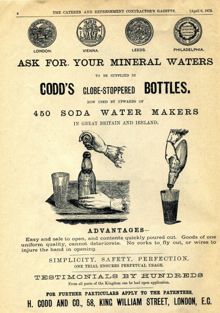 Advert for Codd's globe-stoppered bottles from the Caterer magazine (1878)