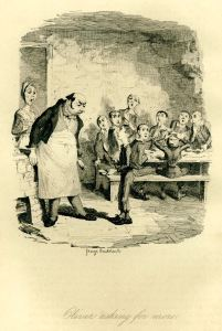 George Cruikshank's picture of Oliver Twist asking, 'Please sir, I want some more'