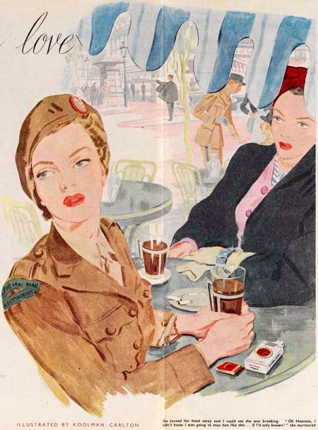 A glamorous female war correspondent similar to Martha Gellhorn shown in a 1946 issue of Woman magazine
