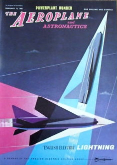 Eric Fraser cover for Aeroplane magazine of a Lightning jet from 11 February 1960