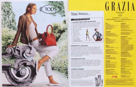 Grazia's contents page shows its signature colour, yellow