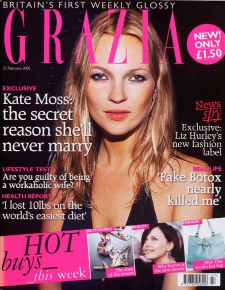 First issue cover of Grazia magazine, the weekly fashion glossy. The cover feature for the 2005 February 21, issue was Kate Moss saying she will never marry