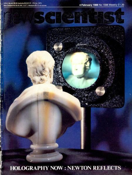 Newton hologram on the cover of New Scientist in 1988