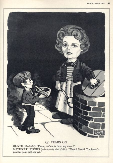 Trog turns to Dickens for inspiration in this Thatcher caricature from 1971 for Punch magazine cover