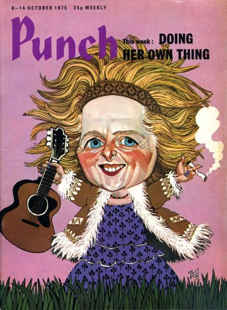 Thatcher as a hippy! Trog for Punch in 1975