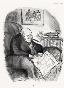 Ronald Searle's cartoon of Churchill in Punch from 18 April, 1956