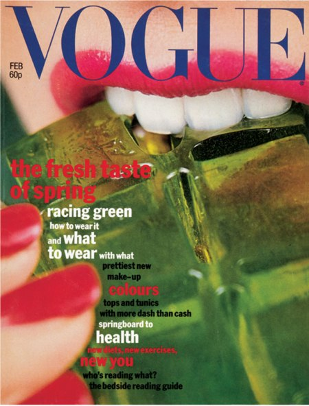 Vogue's February 1977 green jelly cover was by Terry Jones