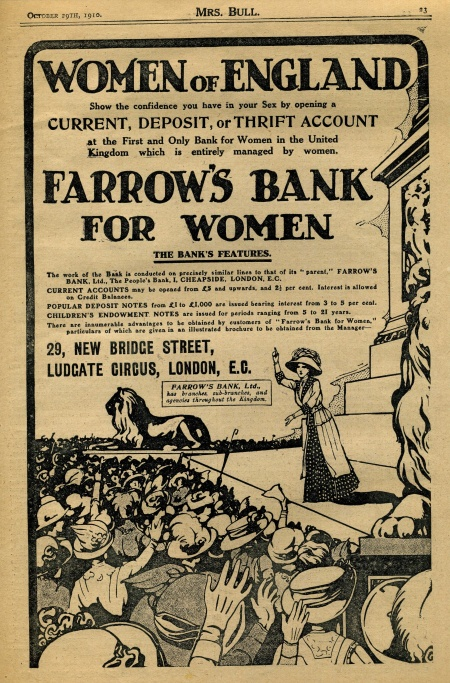 Full-page advert for Farrow's Bank for Women in Mrs Bull magazine in 1910