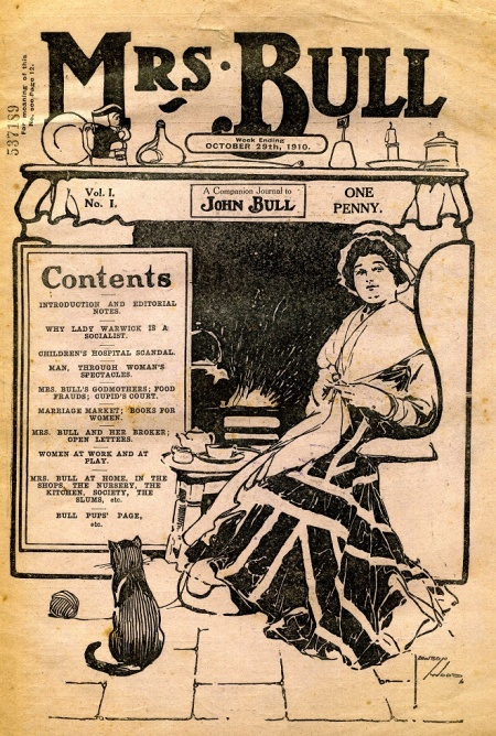 Front cover of the first issue of Mrs Bull magazine in 1910