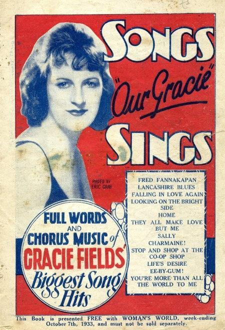 Songs 'Our Gracie' Sings from 1933 included a flattering pencil portrait of Gracie and included stills from her films