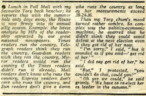 1981 Guardian cutting profiling the readerships of Britain's newspaper - a version of which was used in the TV series Yes Prime Minister