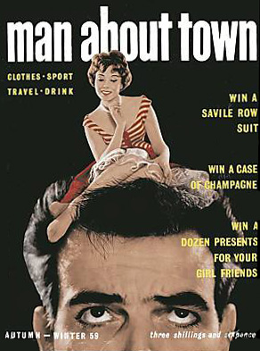 Maurice Rickards merged two images in the dark room for this image manipulation cover on Man About Town in 1959