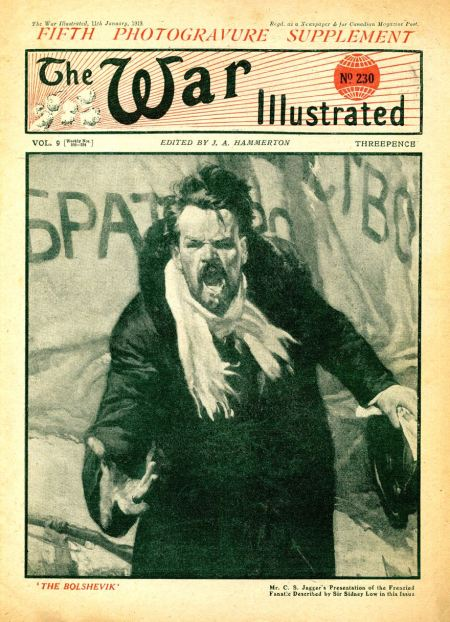 Portrait of a rabid Bolshevik by Charles Sargeant Jagger on the cover of War Illustrated in January 1919