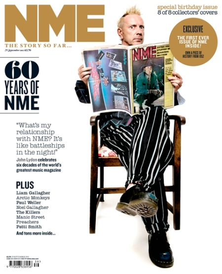 NME celebrated 60 years in print in 2012 with bands and musicians holding past copies on the cover. Sex Pistol John Lydon is on this version