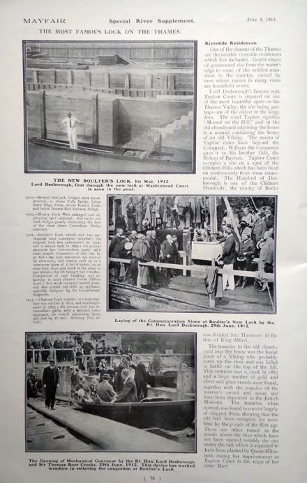 Mayfair magazine showing photographs of Boulter's lock from 1912 with Lord Desborough-the-thames