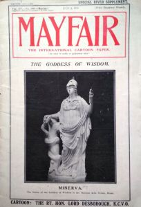 The front cover of Mayfair magazine showing a stature of Minerva from Rome