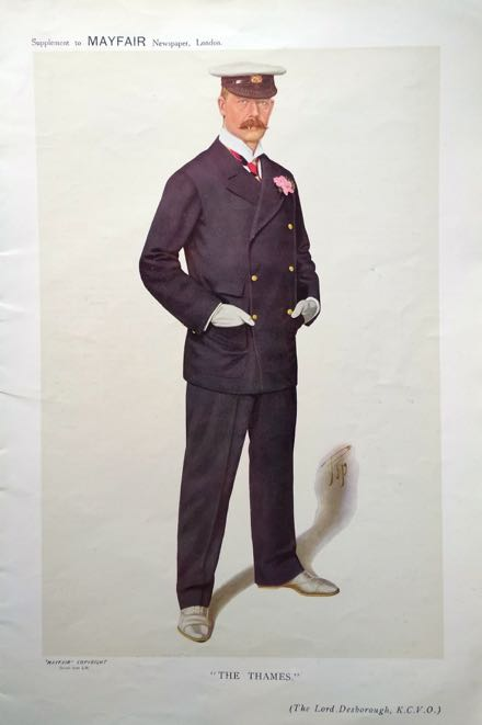 Mayfair magazine's 1914 caricature by 'Pip' of Lord Desborough as 'The Thames'