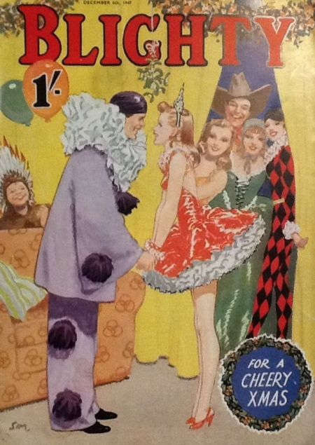 blighty-magazine-1947-December-6-clown-fancy-dress-party-Christmas-magazine-cover