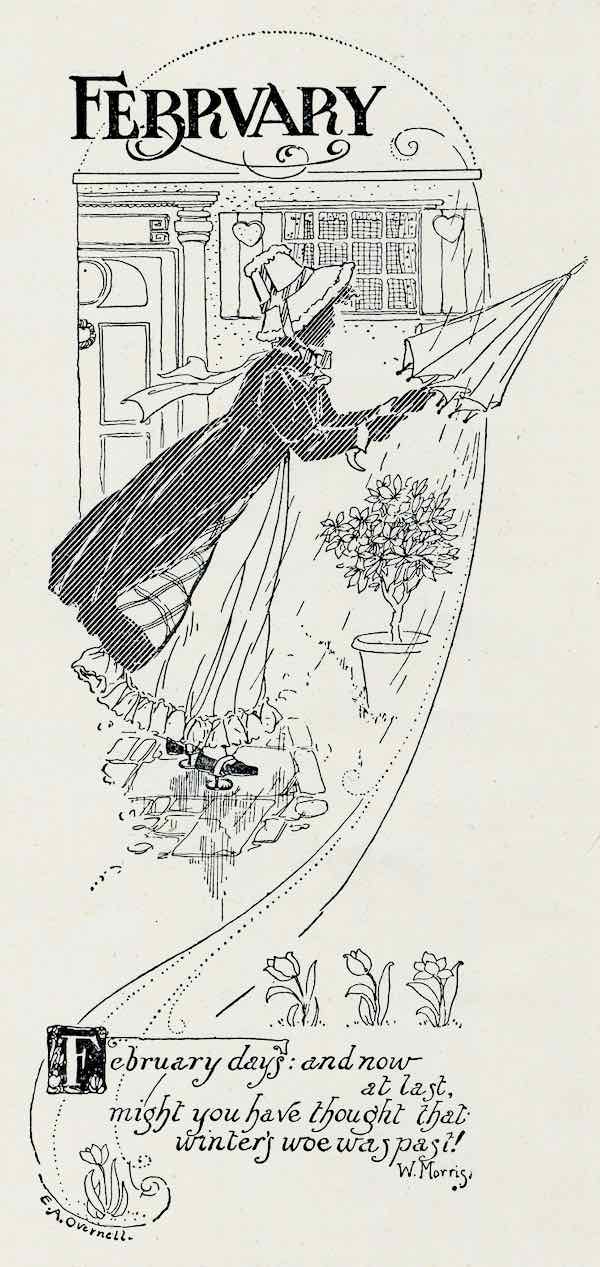Crop of the frontispiece from the February 1914 Quiver-magazine. The William Morris poem is illustrated by EA Overnell