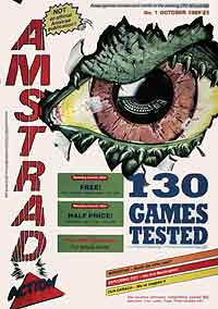 Amstrad Action magazine first issue cover: Future's first title magazine in 1985