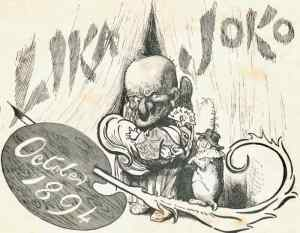 Illustration from Lika Joko editorial page: How Harry Furniss portrayed Mr Punch and Toby