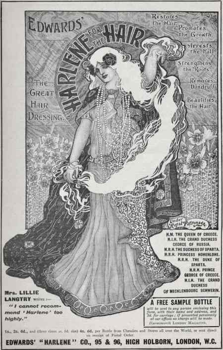 Edwards' Harlene hair dressing advert 1902