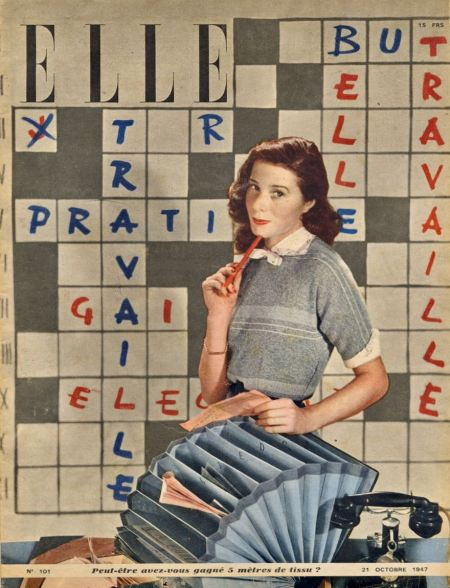elle-magazine-cover-1947-october-21-paris-france-crossword-design