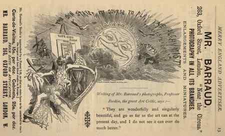 1883 Merry England magazine advert for the photography studio of Herbert Rose Barraud